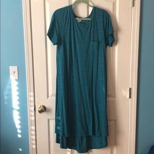 Blue Lularoe Carly high low swing dress XL